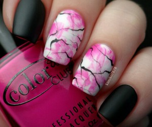 black, nailpolish, and pink image