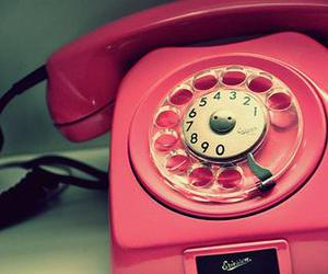 pink and telephone image