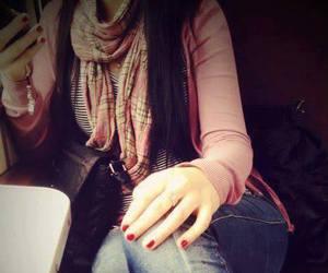scarf, girl, and mobile image