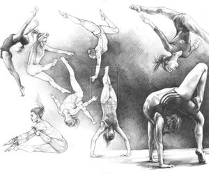 black, gymnastics, and black and white image