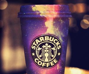 starbucks, galaxy, and coffee image