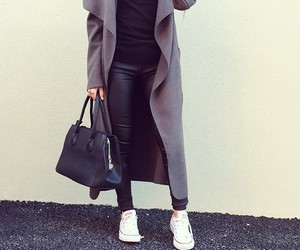 coat, grey, and outfit image