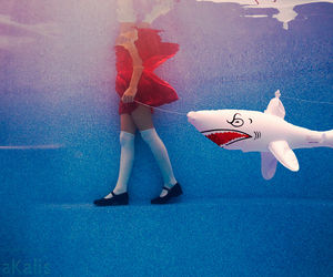 shark, girl, and water image