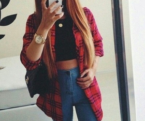 apple, jeans, and long hair image