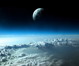 space, earth, and moon image