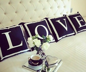 love, bed, and flowers image