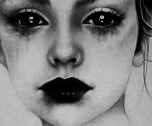 black and white, art, and sad image