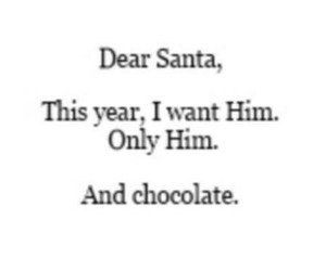 him, santa, and chocolate image