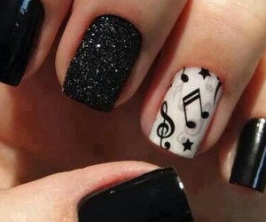 nails, music, and black image