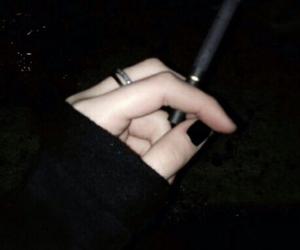 black, smoke, and cigarette image