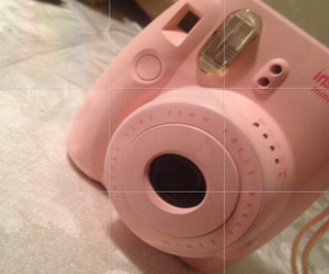 camera, pink, and polaroid image