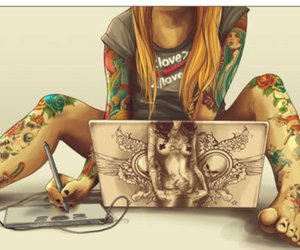 tattoo, art, and laptop image