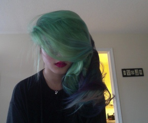 green, hair, and pale image