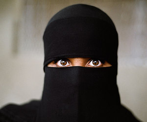 eyes, woman, and black image