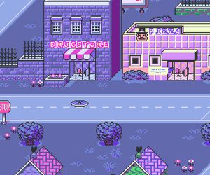 drugstore, purple, and pixel image