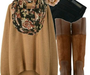 clothes, flowers, and marron image