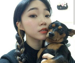 asian, dog, and girl image