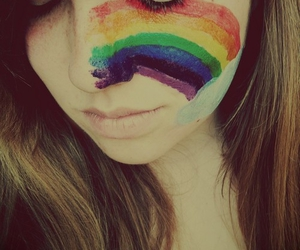 rainbow, girl, and face image