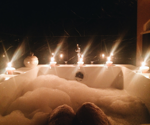 bath, bathtub, and bubbles image
