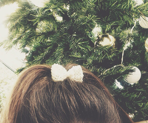 bow, christmas, and brunette image