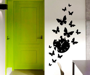 clock, wall decals, and home decor image
