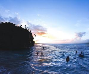 beach, jump, and ocean image