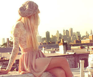 girl, city, and blonde image