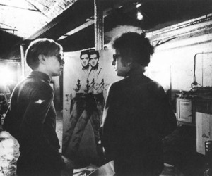 bob dylan, andy warhol, and black and white image