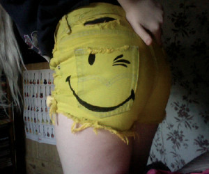 cutoffs, shorts, and smiley image