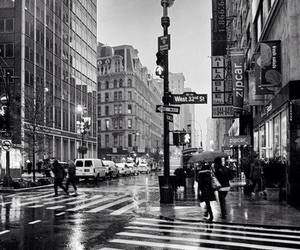 city, black and white, and new york image