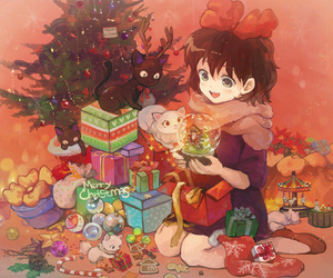 anime, christmas, and cat image