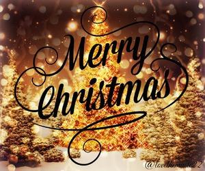 christmas tree, lights, and merry christmas image