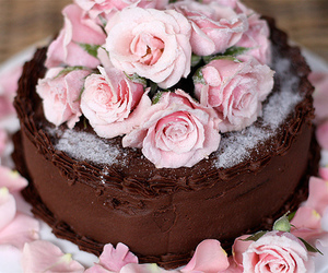 cake, rose, and chocolate image