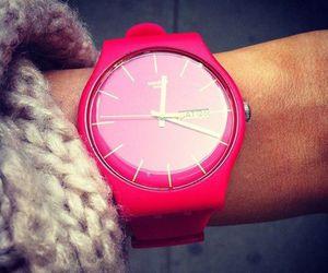 pink, watch, and fashion image