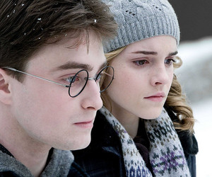 harry potter, snow, and hermione granger image