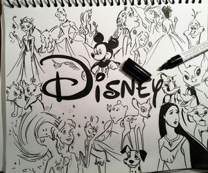 disney, drawing, and art image