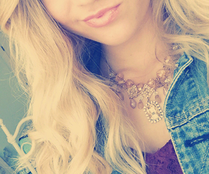 blonde, girl, and jean jacket image