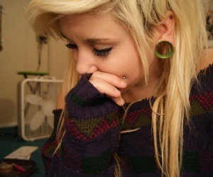 girl, piercing, and hair image