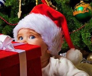 baby, christmas, and present image