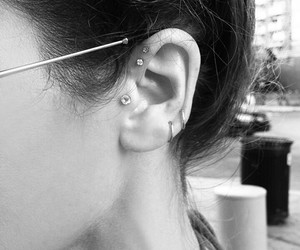 ear, pierced, and piercing image