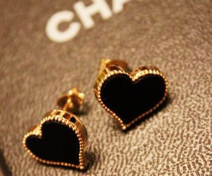 chanel, heart, and black image