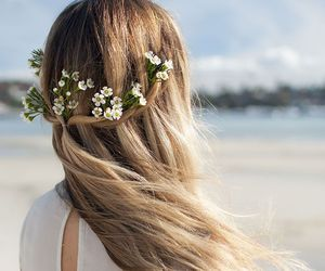 beautiful, blonde, and flowers image
