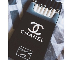 chanel, cigarette, and smoke image