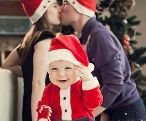 baby, christmas, and family image