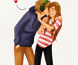 pewdiepie, marzia, and love image