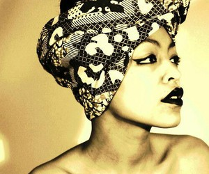 beauty, black, and headwrap image