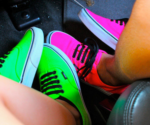 green, pink, and vans image