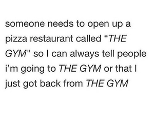 funny, gym, and pizza image