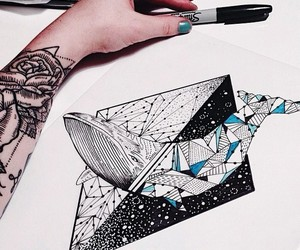 art, whale, and tattoo image