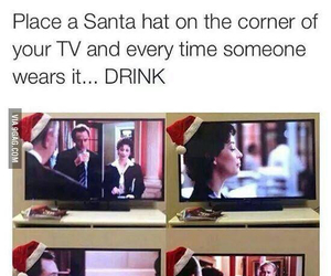 christmas, funny, and drink image